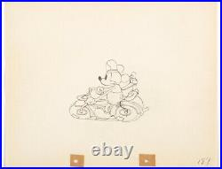 MICKEY MOUSE DONALD DUCK MOTORCYCLE Dognapper DISNEY PRODUCTION CEL DRAWING 1934