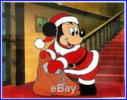 Mickey Mouse Christmas Original Production Cel (Rare Christmas Cel)