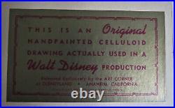 ORIGINAL JIMINY CRICKET CEL ACTUALLY USED IN A WALT DISNEY PRODUCTION 1950's