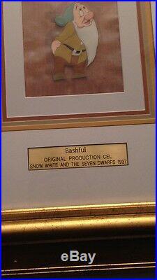Original 1937 SNOW WHITE BASHFUL Disney Production Cel withCourvoisier Background