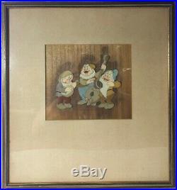 Original 1937 SNOW WHITE SNEEZY, HAPPY, & BASHFUL Disney Production Cel