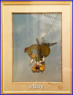 Original Production Cel Donald as Commando Duck Created by Courvoisier