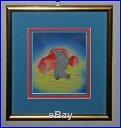 Original Walt Disney Dumbo Production Cel on Courvoisier Background of Dumbo