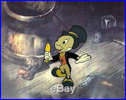 Original Walt Disney Jiminy Cricket Hand Painted Production Cel Newly Framed