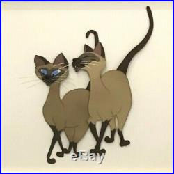 Original Walt Disney Lady and the Tramp Production Cel of Siamese Cats Si and Am