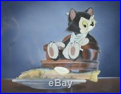 Original Walt Disney Production Cel on Courvoisier Background featuring Figaro