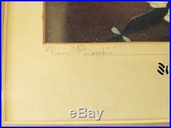 Original Walt Disney Signed PINOCCHIO Production Cel COURVOISIER BACKGROUND