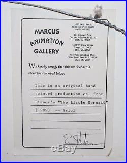 Original Walt Disney The Little Mermaid Production Cel of Ariel