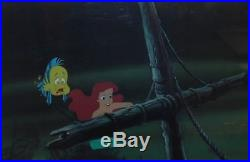 Original Walt Disney The Little Mermaid Production Cel of Ariel and Flounder