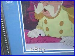 Orignal production cel Disney CINDERELLA King- Framed. Signed by 3 animators