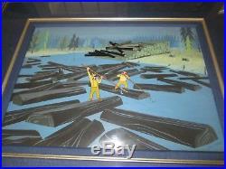 Paul Bunyan Disney production cel Eyvind Earle signed background 1958