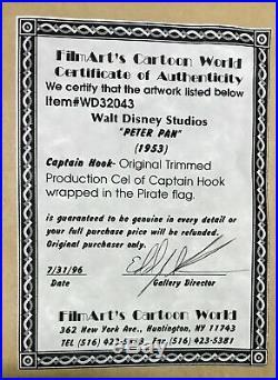 Peter Pan Animation Production Cel Walt Disney 1953 2 cels Pan & Captain Hook
