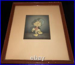 Pinocchio Jiminy Cricket framed PRODUCTION CEL 1940 COURVOISIER DISNEY