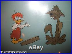 Rare 1950's Disney Gold Art Corner Production Cel Donald Duck & Bent Tail Coyote