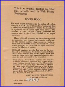 Robin Hood Original Disney Production Animation Cel of Little John 1973
