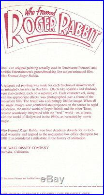 Roger Rabbit Original Production Cel 1988 Walt Disney Animation Art Cel Cell