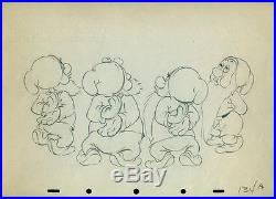Snow White 1937 Disney cel production 4 Dwarfs Drawing