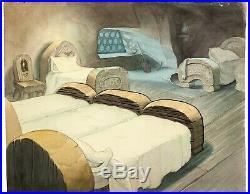 Snow White (1937) Original Production Background Dwarfs obg Disney cel animation