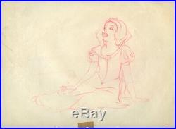 Snow White Beautiful Walt Disney Feature Film Production Cel Drawing 1937