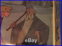 Sword in the Stone Merlin and Wart Original Disney Art Corner Production Cel