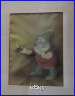 Vintage 1937 Disney Snow White 7 Dwarfs Doc Painted Animation Production Cel