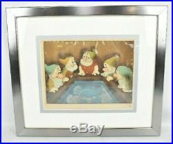 Vintage 1937 Walt Disney Courvoisier Production Cel Snow White & 7 Dwarfs Bath