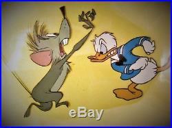 Vintage Disney Original Production Cel Celluloid Donald Duck & Mouse