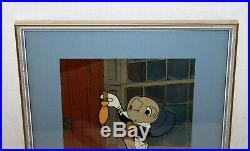 Vintage Disney Productions Animation Cel Jiminy Cricket background matted framed