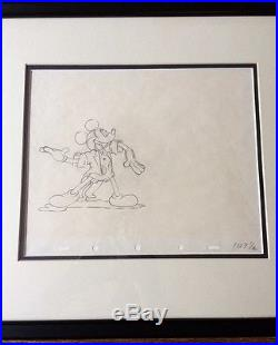 Vintage Mickey Mouse Framed Production Drawing Cel 1930s Disney