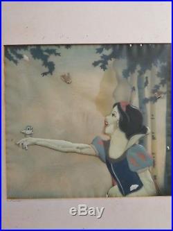 Vintage Old Walt Disney Courvoisier Production Cel Snow White & 7 Dwarfs 1937