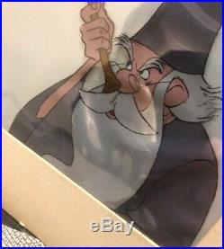 WALT DISNEY SWORD IN THE STONE Merlin Archimedes Owl Original Production! CEL