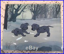 Walt Disney 101 Dalmatians Cel Gold Art Corner Original Production Celluloid