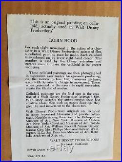 Walt Disney 1973 ROBIN HOOD Cartoon Animation Production Cel CPT. CROCODILE