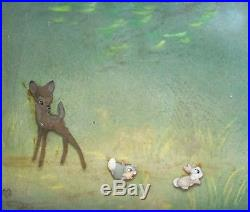Walt Disney Bambi Production Cel on Courvoisier Background of Bambi and bunnies