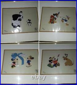 Walt Disney Mickey Mouse Portfolio Limited Edition Production Cels Set of 4