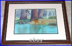 Walt Disney No Hunting 1955 Orig Key Production Setup Cel + Bambi Lobby Card