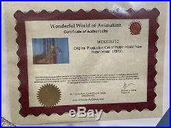 Walt Disney ROBIN HOOD Animation Production Cel With COA