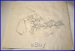 Walt Disney Snow White Seven Dwarfs Original Production Animation Drawing Cel