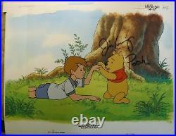 Winnie Pooh Christopher Robin Disney production cel Signed Jim Cummings