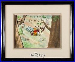 Winnie Pooh original production cel Key Master Background hand painted obg